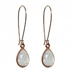 AziBi hangers met prachtige druppelvormige Swarovski stenenin wit opaal.