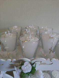 Lembrancinha para Batismo.Velas decoradas e aromatizadas.