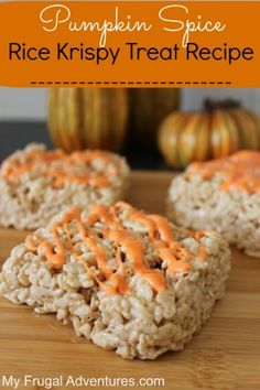 Pumpkin Spice Rice Krispy Treats- quick and easy treat for fall!  Perfect for class parties!