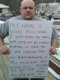 Help Kevin Sullivan look for his birth parents. Like and Share please, thanks. We Are The World, In This World, Kevin Sullivan, Michael Sullivan, Lisa, This Is Your Life, Sad Stories, Miracle Stories, Sweet Stories