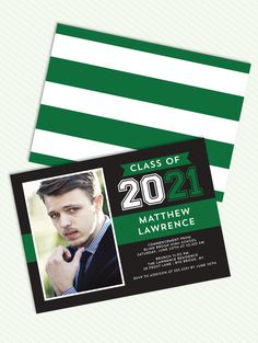 Grad Stacked Flag Green Photo Graduation Announcement Invitation by Tumbalina #boy #male #masculine #stripe