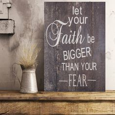 $39.99 Let Your Faith Be Bigger Than Your Fear Wood Sign| Pallet Wood Sign|Religous Wood Sign|Pallet Wood Sign|Rustic Wood Sign|Reclaimed Wood Sign by FramedPalletSignShop on Etsy