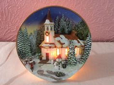 Lighted Church Plate Winter Christmas Ceramic Electric 7 Inch #Popular