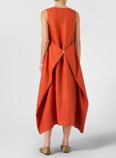 Linen Sleeveless Long Dress Rust Red