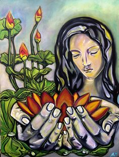 """Madonna in the Lotus Garden  18"""" x 24""""x 2""""  oils on thick gallery wrapped canvas  HA! 2016    Madonna showed up on morning while I was meditating about the current state of our reality. I often will find a comfortable little prayer/poem and run it through my mind while I work. A form of meditation, I have done it reflexively all my life. First, her face came from the model of the master, Michelangelo, her face is my humble rendition of his great work.  Her voice soft but steady happened…"""