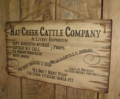 Hat Creek Cattle Company & Livery Emporium, Lonesome Dove Sign, Western, Antiqued, Wooden Sign on Etsy, $99.00