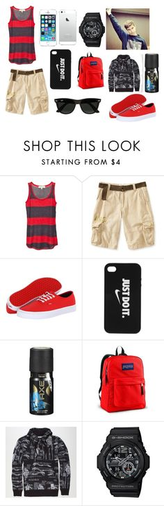 """6 flags -Nash"" by jkrebs ❤ liked on Polyvore featuring Aéropostale, Vans, NIKE, Axe, JanSport, 40oz NYC, G-Shock and Ray-Ban"