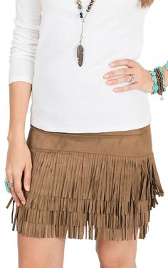 Throw on a fur vest with this suede fringe skirt, and you'll be ready for fall!