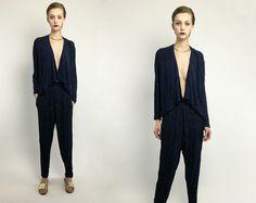 Vintage 80s Metallic Gold Navy Blue Striped Textured 2 Piece Sparkle Knit Set Asymmetrical Top Harem Pants S