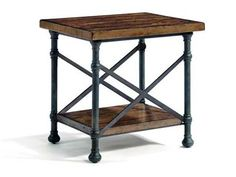 Shop for Bernhardt End Table, 466821, and other Living Room Tables at Kittle's Furniture in Indiana and Ohio. Wood Top And Shelves Of Solid Mahogany. Table Top And Shelf Are Composed Of Random Size Boards. Metal Base With X Side Stretchers.