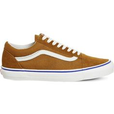 VANS Old Skool canvas trainers (980.725 IDR) ❤ liked on Polyvore featuring shoes, sneakers, plimsoll sneakers, canvas lace up sneakers, vans footwear, laced shoes and striped sneakers