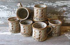 EXTERMINATE! - Doctor Who Quote Mug - Dalek Pottery Mug - Handmade Fan Art -  Doctor Who Inspired