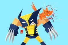 Wolverine and a vicious kitty