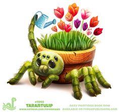 красивые картинки,art,арт,паук,тарантул,тюльпаны,Piper Thibodeau,Cryptid-Creations,artist