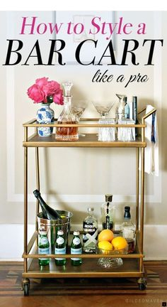 Bar Cart Ideas - There are some cool bar cart ideas which can be used to create a bar cart that suits your space. Having a bar cart offers lots of benefits. This bar cart can be used to turn your empty living room corner into the life of the party. Diy Bar Cart, Gold Bar Cart, Bar Cart Styling, Bar Cart Decor, Bar Carts, Styling Tips, Home Design, Design Design, Diy Home Decor Rustic