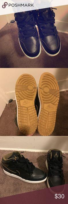 Jordan's 1s Black  Worn twice No damage Size 5.5y boys No soles Jordan Shoes Sneakers