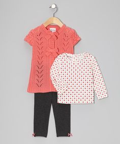 Take a look at this Coral & Gray Knit Cardigan Set - Infant & Toddler on zulily today!