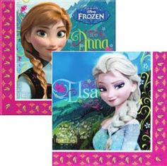Pack of 20, Disney Frozen napkins - 2ply.  Open napkin shows both Anna and Elsa. Open size 33cm x 33cm www.KidsPartyTime.co.uk