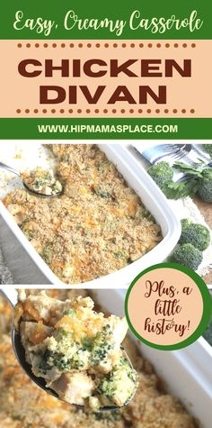 A classic casserole dish made with chicken, broccoli and cheddar cheese, this easy Chicken Divan recipe is both delicious and satisfying. It will sure to become your family's go-to dinner dish!  #chickendivan #easychickendivan #chickendivancasserole #chickencasserole #dinnercasserole #dinnerideas #easyrecipes #hipmamasplace #easydinners #easydinnerideas #dinnerrecipes #yummyummy #bhgfood #forkyeah