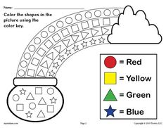 Patrick's Day themed shapes coloring worksheet is great for practicing shape recognition, color recognition, fine motor skills, and more with your preschoolers and kindergartners. Free Preschool, Preschool Worksheets, Preschool Learning, Math Activities, Toddler Activities, Preschool Activities, Preschool Shapes, Teaching, Shapes Worksheets