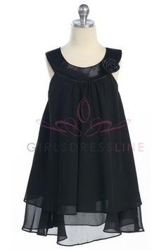 Black Satin bib necklin & chiffon A-line flower girl dress