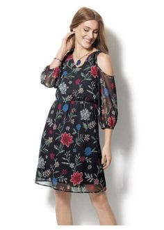Cold-Shoulder Boho Floral Dress $34.99  This feminine frock is the perfect transitional piece.  FEATURES • Elastic cinch waist • Fully lined • Opened shoulder • U neckline  MATERIALS • Polyester  CARE • Machine wash cold. • Gentle cycle with similar colors. • Do not use chlorine bleach, only non-chlorine bleach if needed.
