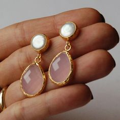 Pink Quartz Angelina Style Drop Earrings by toosis on Etsy