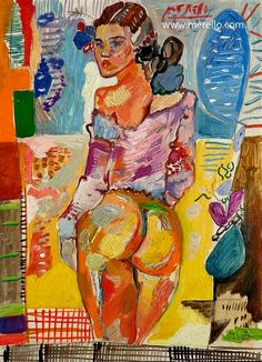 """THICK BRUSHSTROKES for a SENSUAL NUDE.  Jose Manuel Merello.- """"Yellow nude.""""  Contemporary art. Spanish art. Painters. Current art 21st century. Modern painting. Paintings of contemporary artists. Art, Luxury and Passion. Color and Decoration in the Modern Art. Investment. http://www.merello.com"""