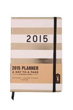 Start your new year in style with our fun and practical 2015 A5 Buffalo Diary! Available in stylish designs to suit any personality. Size: 2015 A5 Daily Diary measures 14.5 x 21cm x 2.5 Features: Daily layout, personal information, public holidays and reference calendar pages inside, ribbon bookmark, elastic closure, printed tabs for each month, pocket for your notes on internal back cover. #typoshop #stationery #diary #2015 #planner #journal #stripe #gold