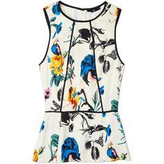 Tibi Bird & Floral Silk Print Peplum Top ($368) ❤ liked on Polyvore