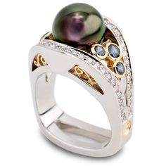 Coffin Jewelers - 10.3mm Dark Magenta/Green Tahitian Pearl accented by Diamonds and Color-Change Garnets set in 18K White and Yellow Gold