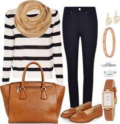 Andrea Moda y Asesoría: Blusa rayas negra Pantalón azul FW15-16
