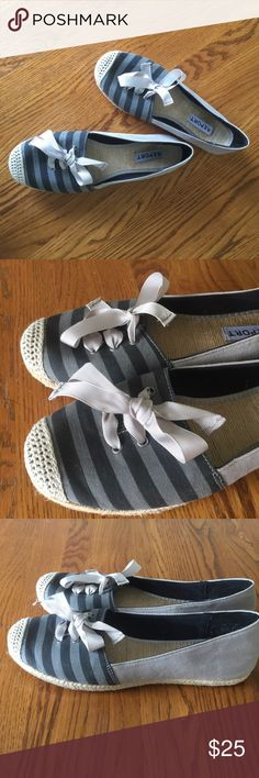 Report Espadrilles Adorable ribbon tie and striped detail espadrilles by Report. Excellent condition. Report Shoes Espadrilles