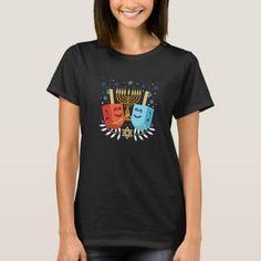 Happy Hanukkah Dreidels Jewish Chanukah Party Jew T-Shirt Tips Fitness, Fitness Models, Pumpkin Pregnancy Announcement, 40th Birthday Gifts, Birthday Shirts, Funny Gifts, Wardrobe Staples, Otaku, Back To School