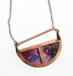 Half moon Horsehead Nebula Constellation Galaxy Space Universe Astronomy Pendant necklace. $52.00, via Etsy.
