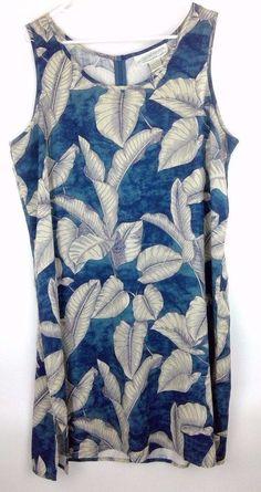 490a59090c7 Pineapple Moon Shift Dress Blue 100% Silk Plus Sz 2XL Sleeveless Tropical  Floral  PineappleMoon