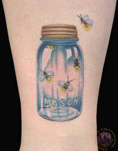 Lighting bugs in mason jar tattoo!! What!! No way!! Now that's country!!