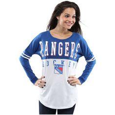 New York Rangers 5th & Ocean by New Era Women's Long Sleeve Spirit T-Shirt - White/Blue