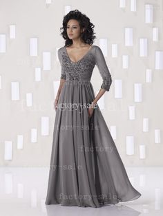 Wholesale Mother Dresses - Buy 2013 Sexy Gray Mother of The Bride Dresses V Neck 3/4 Long Sleeves Beaded Ruffles Summer Chiffon Evening Dresses 2BE263, $119.0 | DHgate