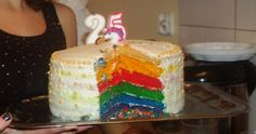 Rainbow layered cake  for my flatmate 25th birthday!