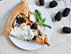 Grilled Chicken, Peach, Blackberry + Basil Pizza by howsweeteats: Summer pizza! #Pizza #Chicken #Summer