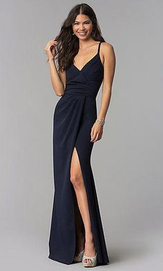 Sleeveless Faux-Wrap Long V-Neck Prom Dress - PromGirl Affordable Formal Dresses, Long Formal Gowns, Long Evening Gowns, Formal Evening Dresses, Formal Wear, High Low Prom Dresses, V Neck Prom Dresses, Bridesmaid Dresses, Wrap Dress Outfit