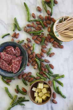 "Healthy Snack: Smokehouse Almonds + Savory Treats (salami, gruyere cheese, dried & salted green beans). In a snack-time rut? Click through for food ""pairings"" that will spice things up!"
