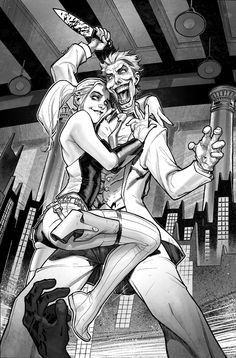 Harley Quinn Issue # 2 Page 1 Inks with Greytones by StephaneRoux.deviantart.com on @deviantART
