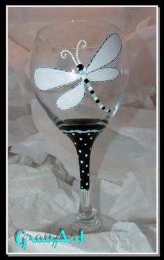 Dragonfly Wine Glass Turquoise, Dragonfly, Wine Glass, Turquoise and Black, Painted Wine Glasses, Monogram, Personalize Gifts, Party Favors by GranArt on Etsy https://www.etsy.com/listing/171423713/dragonfly-wine-glass-turquoise-dragonfly