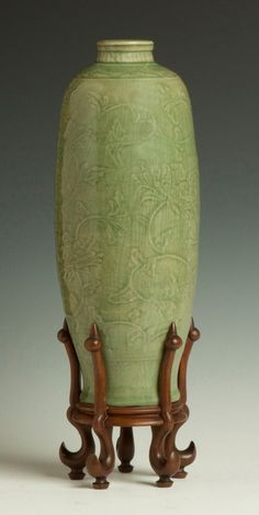 """Early Chinese Celadon Meiping Vase.Ming period. Incised floral decoration. Ht. 16"""" Dia. 6"""""""