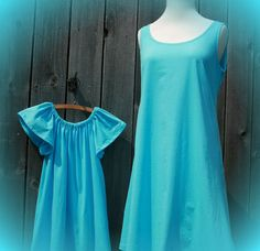 MOTHER DAUGHTER MATCHING dresses in turquoise by mamababytime, $50.00