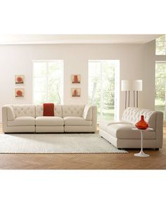 Rosario Leather Modular Living Room Furniture Collection with Sets & Pieces | macys.com