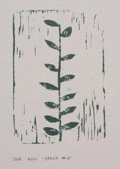 Summer Garden Ivy block PRINT  Forest Green Ivy by RetroModernArt