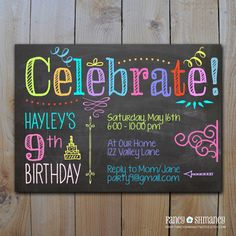 Chalkboard Invitation / Tween Birthday Neon Colors / Celebrate / DIY Printable Invitation File 5902